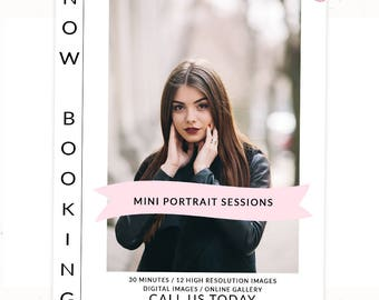 Senior Photography Templates Marketing, Photoshop Templates for photographers, Photography Templates Mini, Mini Session Templates, m141