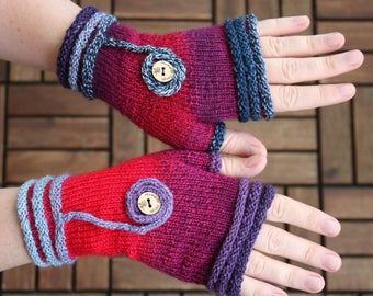 """Fingerless mittens """"Coziness"""", handknit fingerless gloves, wrist warmers, one-of-a-kind, lilac and pink, gift for her"""