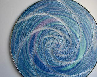 Large Wall Hanging Earring Holder / Jewelry Organizer / Display - Blues and Purple Swirl