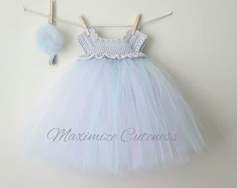 Crochet Tutu Dress, Baby Girl Dress, Crochet Tulle Dress, Tulle Dress, First Birthday Dress, Purple and Mint Dress, Photography Prop