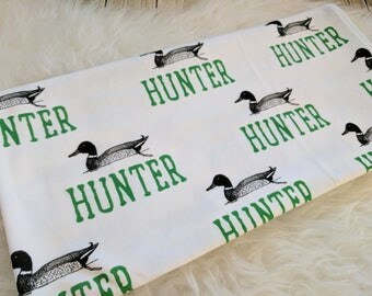 Personalized baby name duck hunting swaddle blanke for newborn or hospital pictures: baby personalized name newborn hospital gift baby