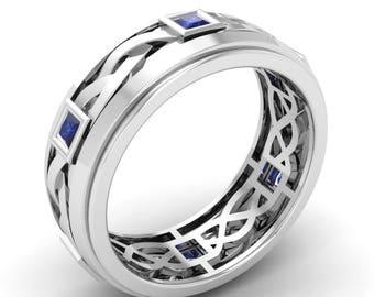 Blue Sapphire Men Ring, Men Engagement Ring, 14K White Gold, Mens Ring, Anniversary Ring, Wedding Ring, Princess Cut Ring, Men Wedding Band