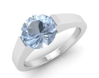 1.20 Carat Aquamarine Engagement Ring, 14K White Gold, Anniversary Ring, Wedding Ring, Solitaire Engagement Ring, Natural Aquamarine Ring