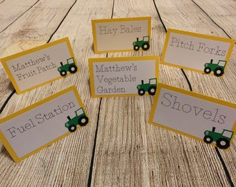 Tractor - John Deere Birthday Inspired Food Name Cards