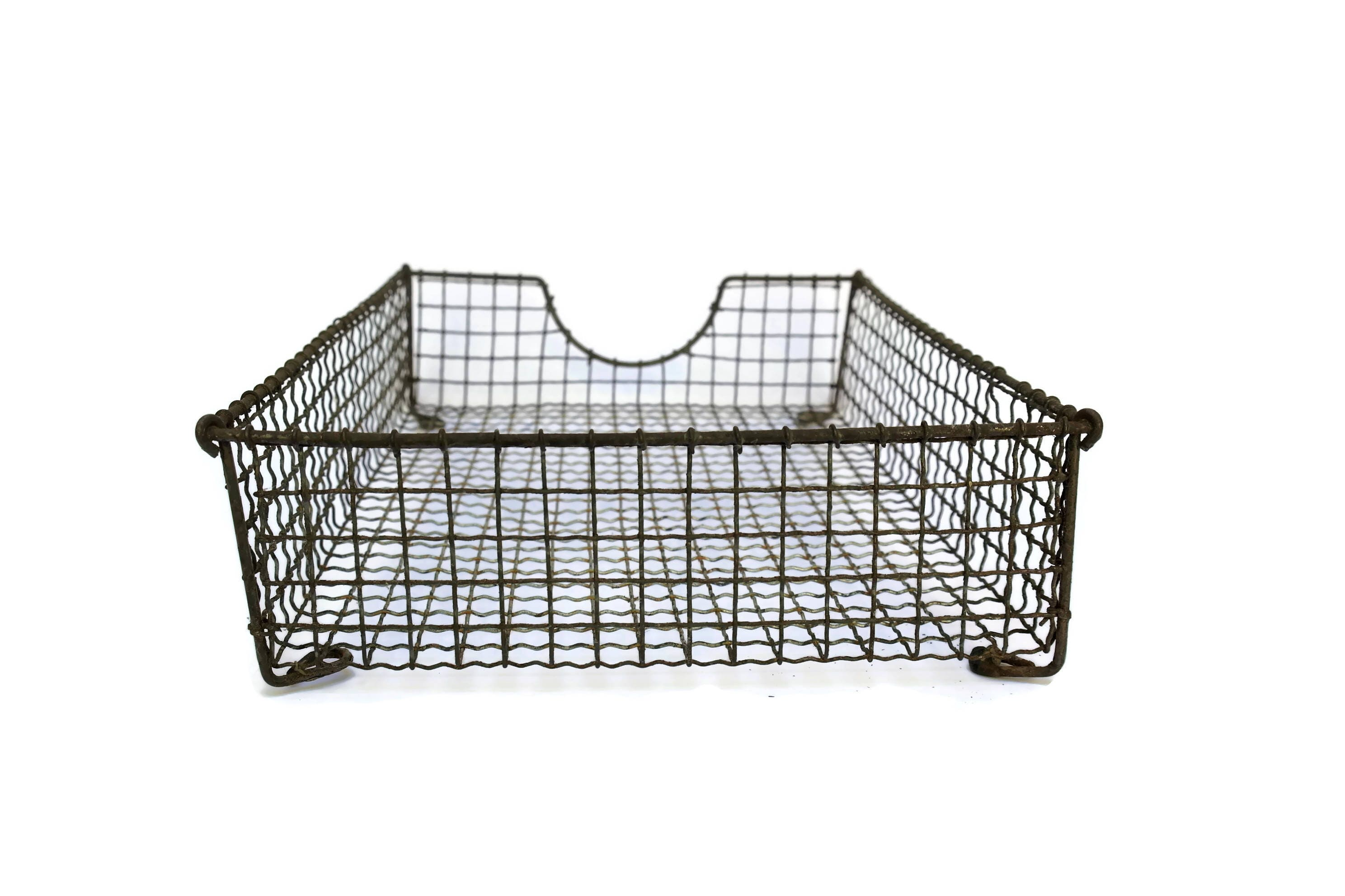 Vintage Wire Mesh Paper Tray In Amp Out Tray French