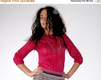CIJ SALE Fuchsia Pink Blouse Bright Cotton Blouse Magenta Button up Shirt Bright Pink Long Sleeve Tunic Embroidered Small to Medium