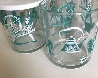 Hazel Atlas Turquoise Aqua Kitchen Aids Sour Cream Drink Glasses set of 4 with lids for 2