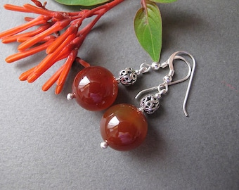 Jewelry, Earrings,Silver earrings, Filigree earrings,Carnelian earrings, Israel jewelry, Yemenite jewelry