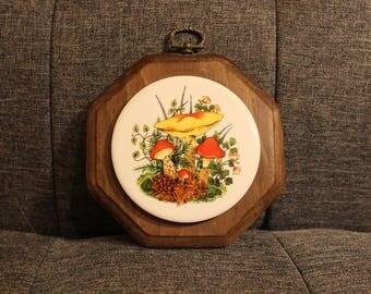 Vintage Mushroom Fungi Ceramic Wooden Trivet // Wall Hanging // Decoration // Coaster // Woodland // Forest