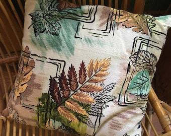 Vintage Bark Cloth Colorful Autumn Design Handmade Square Pillow