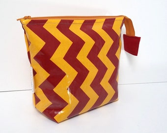 MADE TO ORDER Gold and Dark Red Chevrons wipe clean wash bag