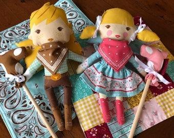 Cowboy/Cowgirl Soft Toy Set