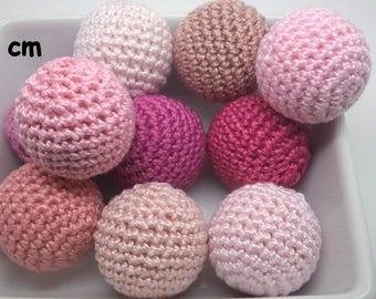 Pink cotton crochet 10 beads (2.7 cm)