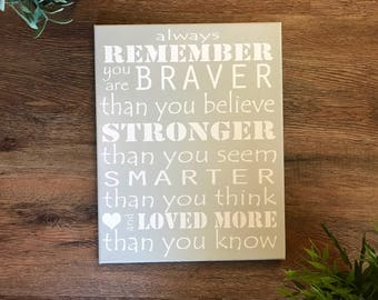 CUSTOM COLORS Always Remember, you are braver, stronger, smarter, nursery room decor, 11x14, 16x20, or 22x28 canvas winnie the pooh quote