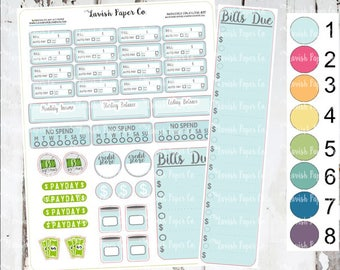 Monthly Financial Kit Planner Stickers, Hand Drawn, bills due, financial sticker, pay bills, bill tracker, to do,