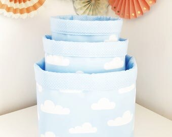 Fabric storage basket clouds baby blue and white. Organizer, container. Nappy basket, toy storage, nursery decor, kids room.