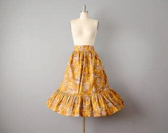 50s Skirt  // 1950's Ruffled Cotton Abstract Novelty Print Skirt // Plus Sized