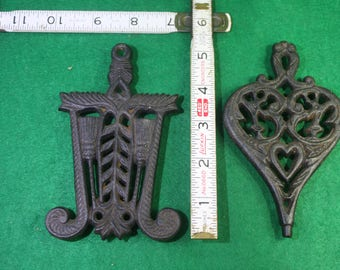 Vintage  Pair Wilton iron Trivets- Brooms and Heart