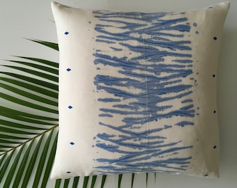 One-of-a-kind Shibori Decorative Linen Pillow - Blue