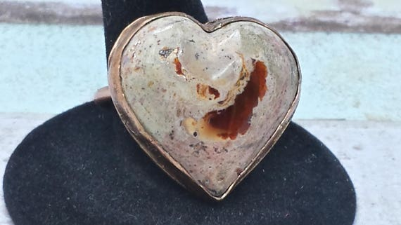 Rustic Mexican Fire Opal Heart Copper Ring