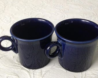 "Fiestaware Cobalt Blue Set of Two (2) ""Tom and Jerry"" Coffee/Tea Mugs"