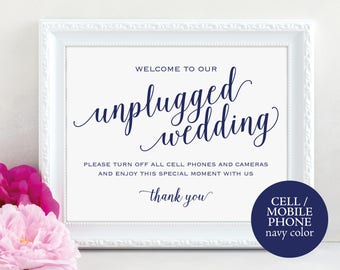 Navy Unplugged Wedding Sign, Turn off Phones and Cameras, Wedding Sign, Wedding Printable, Unplugged Sign, PDF Instant Download, MM01-4
