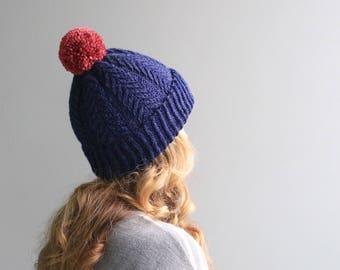 READY to SHIP - Wool & Acrylic Hat / Big Yarn Pom Pom / Slouchy Beanie / Navy Heather Purple / Blue and Pink