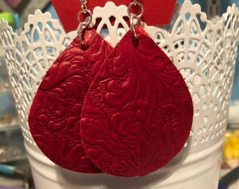 Textured red leather earrings