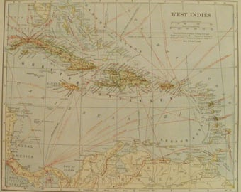 West Indies Map,Feature Cuba Map Jamaica Haiti Puerto Rico Bermuda Antilles,Island Map,Place on the World Map,1925 8x10 VS19