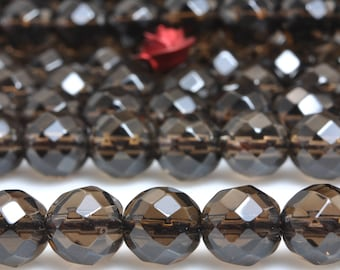 64 faces''---56 pcs of A A Grade--Natural Smoky Quartz faceted round beads in 7mm (6864#)