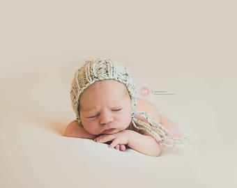 NEWBORN knit bonnet tweed look, photo prop, gift idea, knit, crochet, bonnet, hat