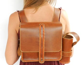 Leather backpack,. Brown leather backpack.