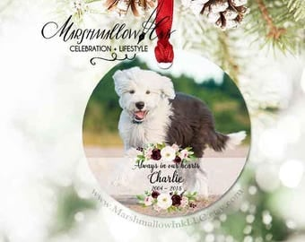 Christmas Ornament, Photo Ornament for Pet, Remembrance Ornament, Memorial Gift, Pet Memorial Ornament, Memorial Gift, Dog Memorial Ornament