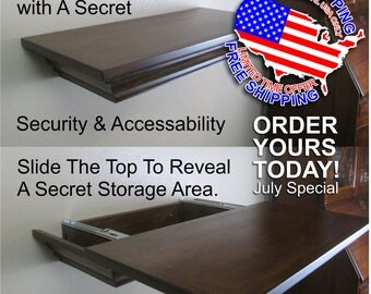 Top Secret Sliding Top Storage Shelf, Covert Storage, Gun Storage, Floating Wall Shelf, Shelving, Hidden Storage, Hidden Stash, Safety