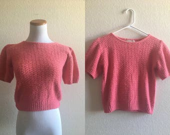 vintage 80's PINK CROP TOP sweater - small