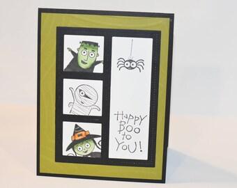 Halloween Greeting Card, Kids, Mummy, Witch, Frankenstein, Spider