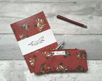 Notebook and pencil case set, a5 notebook, gift set, flowers, lined paper, blooms, red, floral design, mothers day, pencase, matching