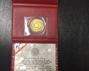 Gold Coin Yugoslavia 100 Dinara 1968  25th Anniversary of Republic