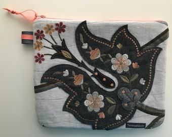 Large Embroidered Floral Flat Zip Pouch