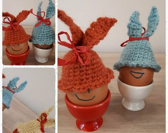 Cozy Duo for easter egg, Crochet egg decoration, Egg Warmer, Bunny Hat, Home decoration