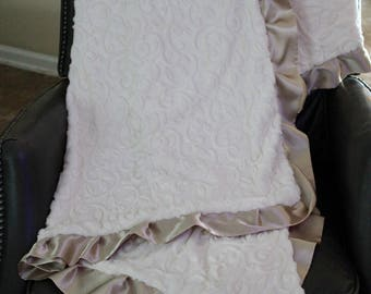ADULT MINKY - Travel Blanket - Ivory Embossed Vine Minky Blanket with Champagne Satin Trim
