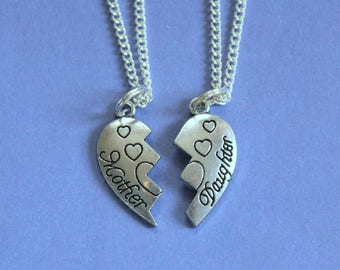 Silver Mother and Daughter Necklace,Silver Pendant,Silver Charm,Tibetan Silver Pendant,Mum & Daughter Gift,Secret Santa,Stocking Filler