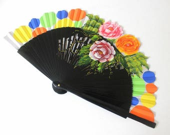 Hand Fans, hand fan, Abanico, black, handpainted