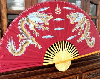 dekoration fan,large fan,bordeau with dragon