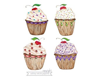 Set of 4 ~ Original Cupcake Notecards