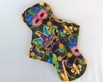 """10.25"""" Mardi gra masks   on cotton   Top reusable cloth pad ( regular)"""
