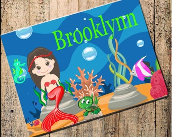 "Mermaid Personalized Placemat  16""x10"" Fabric Top, rubber backing, stops sliding, heat resistant, absorbs moisture, blue and green"