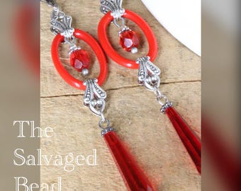 Antique Art Deco Gatsby Cherry Red Ring Drop Earrings, circa 1920's by The Salvaged Bead