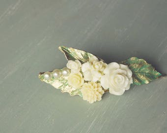 gold leaf and white rose flower hairclip