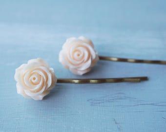 hair pin, blush pink flower rhinestone hair pins